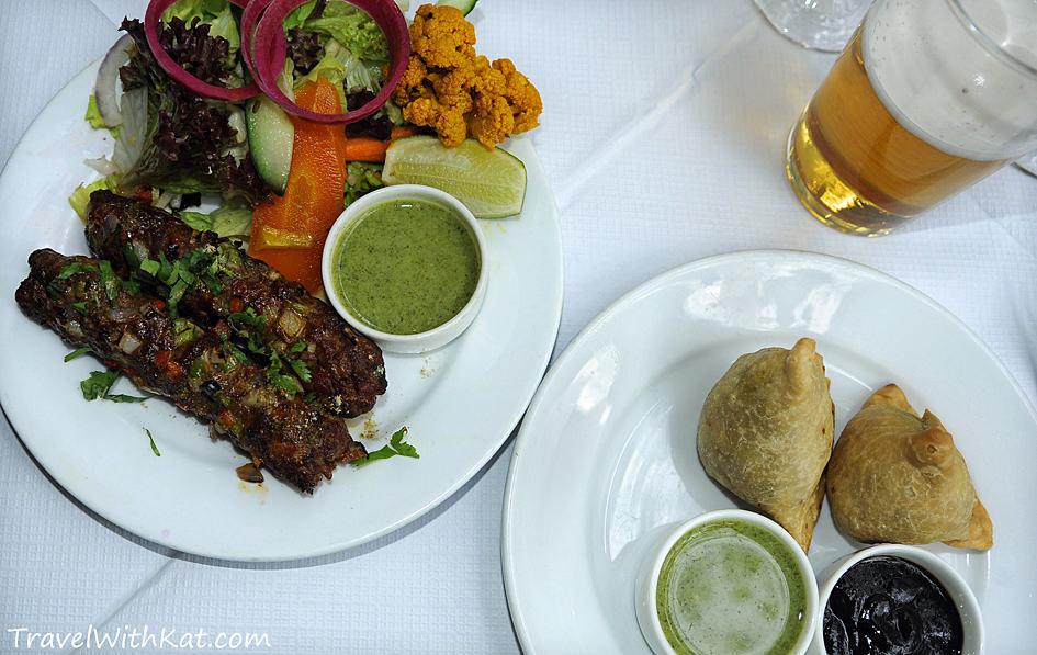 Gilap Seekh kebabs and Punjabi vegetable samosa