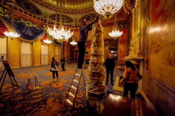 Picture by Jim Holden, courtesy of The Royal Pavilion Brighton - the installation of pagodas by artist Geraldine - October 2012