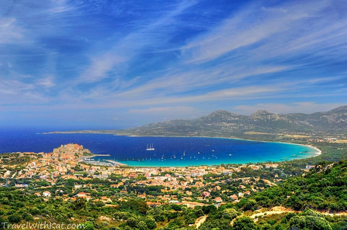 The view looking down across Calvi to the ancient citadel and the sweeping bay of crystal clear water