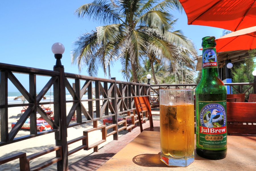 Drinking Julbrew lager on holiday in The Gambia