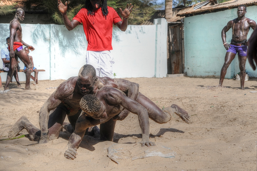 Wrestling at Sanyang Beach in The Gambia