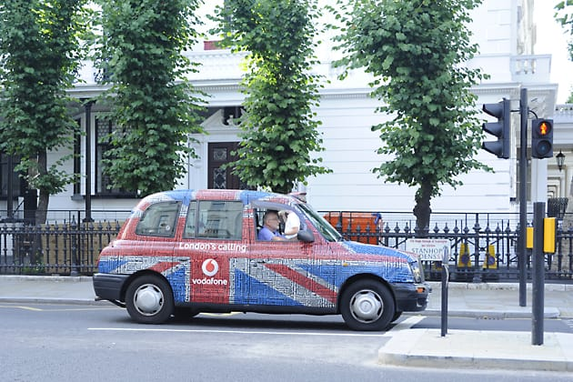 Union Jack taxi, London