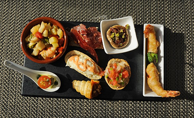 A tapas platter at the Hotel Illa d'Or