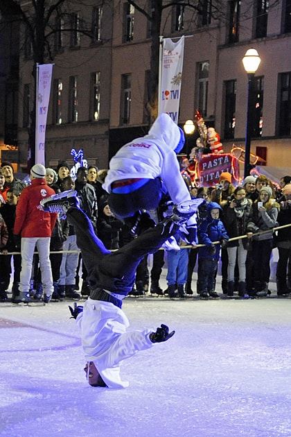 Ice skating show at Brussels' Christmas Market