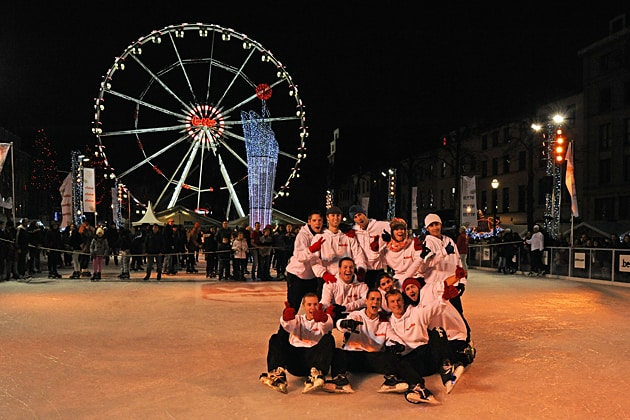Ice skaters at Brussels' Christmas Market