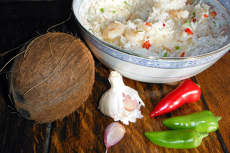 Burmese rice cooked in coconut milk