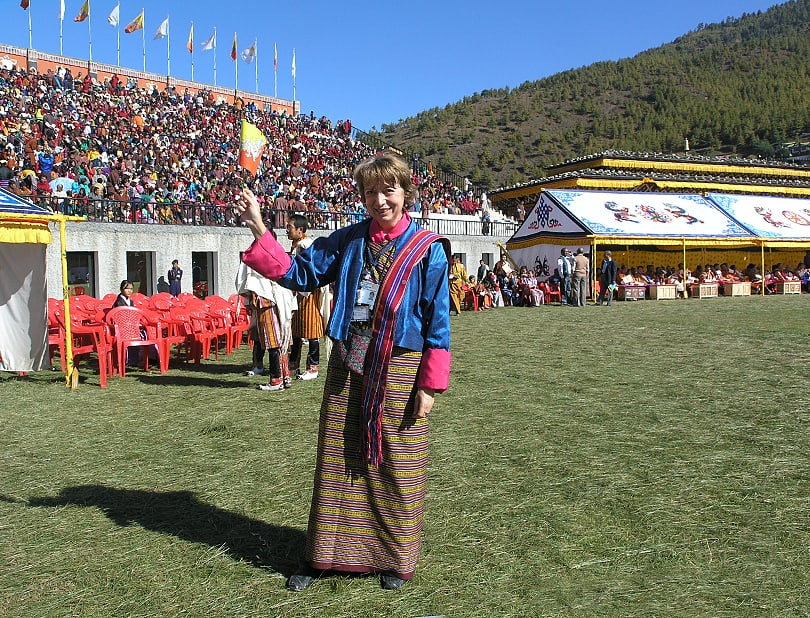 Solange, appropiately dressed in Bhutan