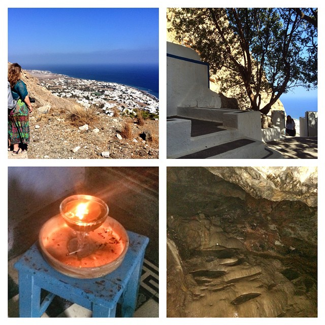 Climbed down from ancient Thera to visit the spring and the little church clinging to mountainside #Santorini