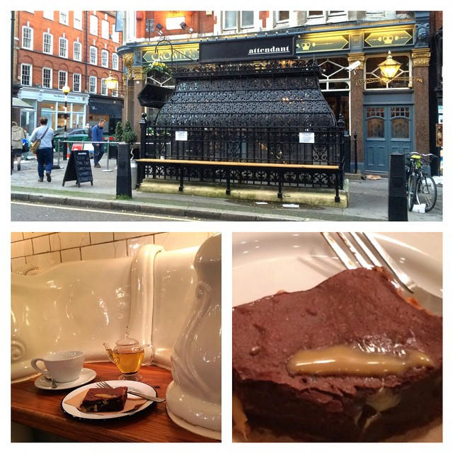 Enjoying the most scrumptious, melt in the mouth, salt caramel and chocolate brownie in a loo! #TheAttendant Foley Street, #London