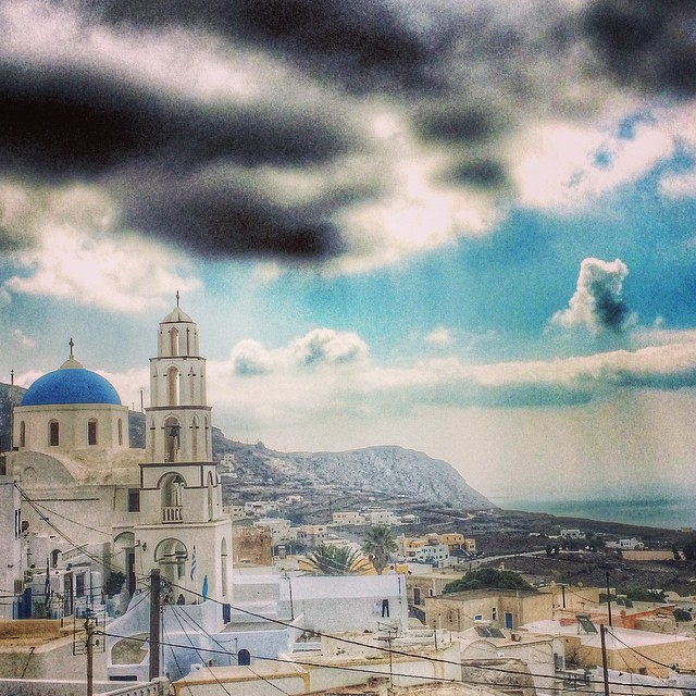 Pyrgos on #Santorini looking menacing! #latergram #Greece #travel
