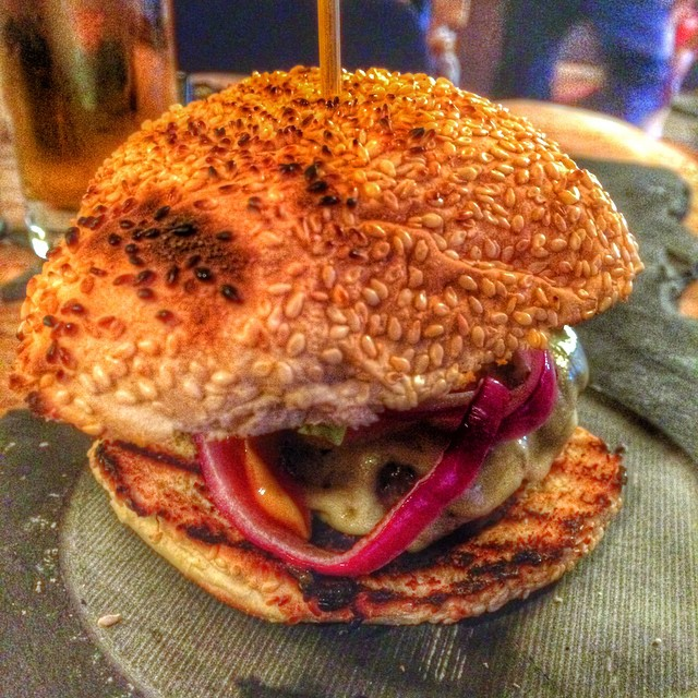 Love the look of Neill's burger. #humgry @gunsandsmokeuk @gunsandsmoke Tried a little taster and it was indeed very good! #delicious