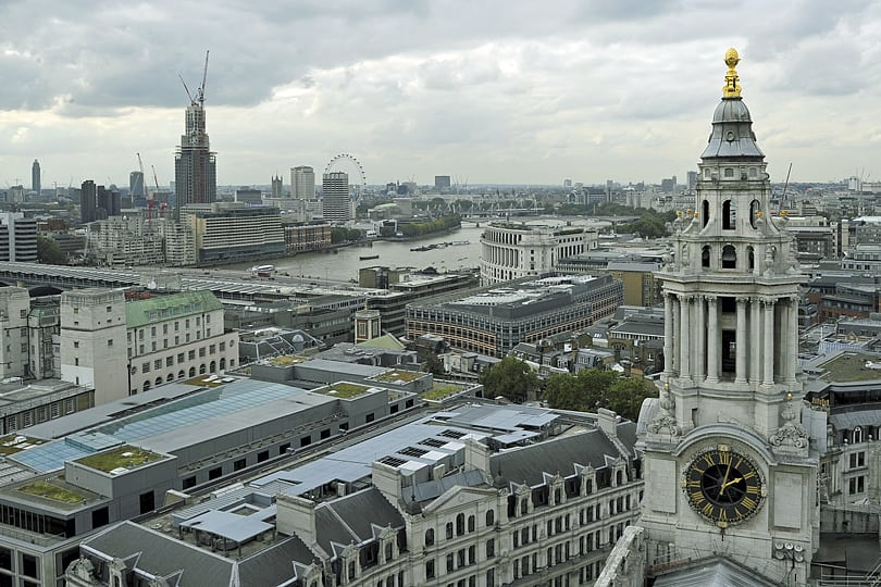 A bird's eye view of London from St Paul's