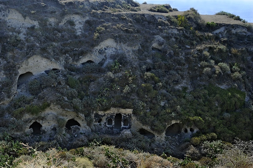 Abandonded cave village, Akrilia Agrilia, Thirsassia, Santorini, Greece