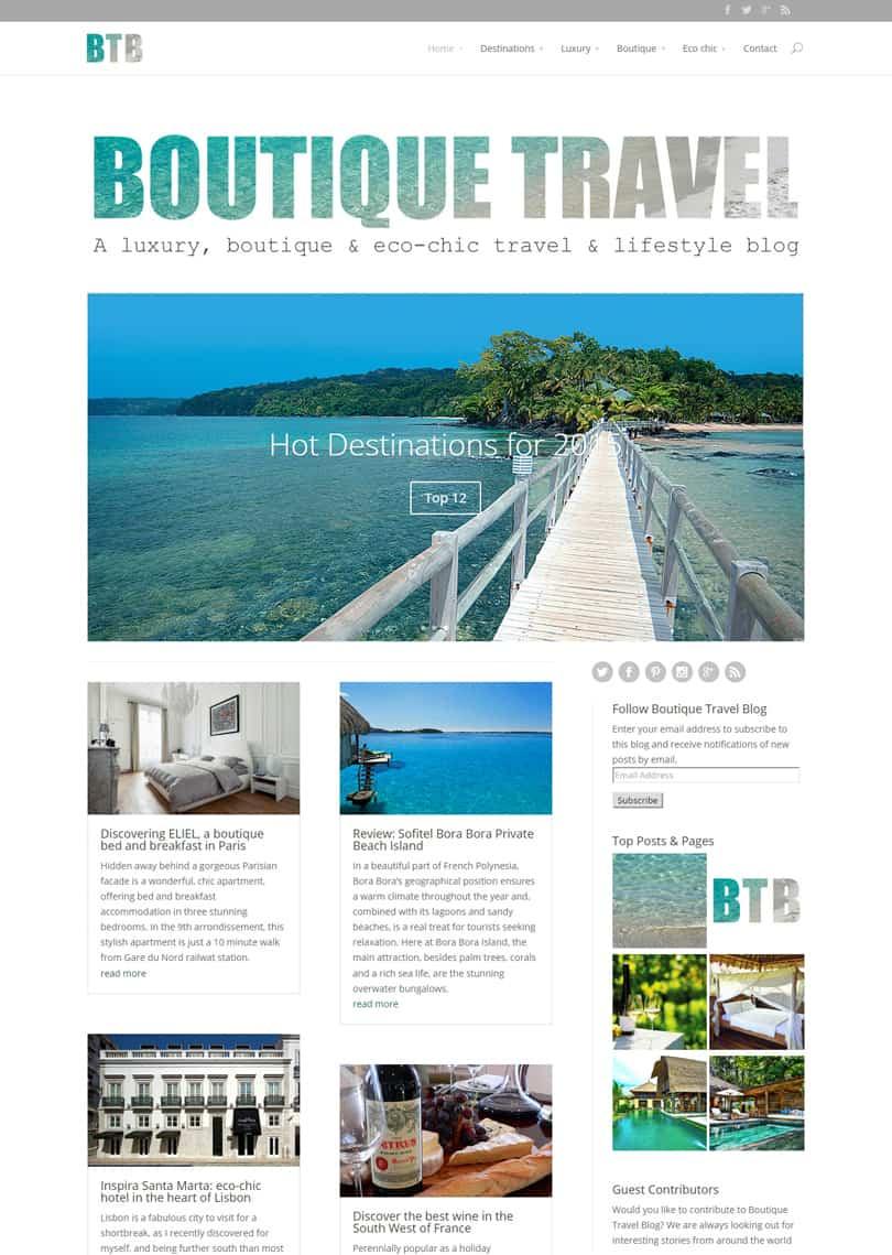 Boutique Travel Blog website design