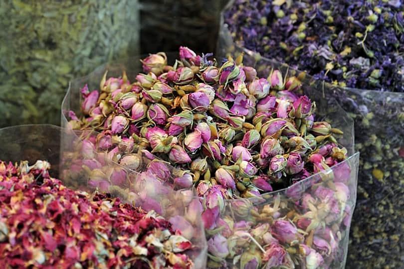 Dried Rose buds in Dubai Spice Souk