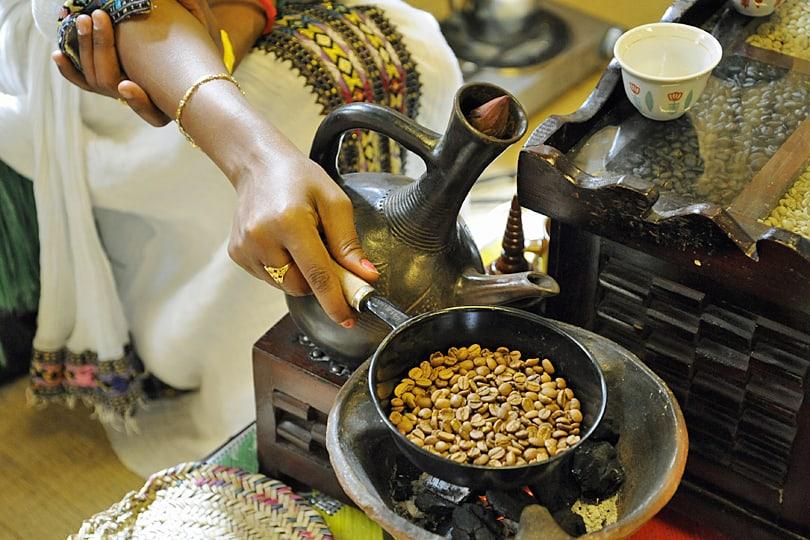 Roasting coffee beans at Dubsi Coffee Museum