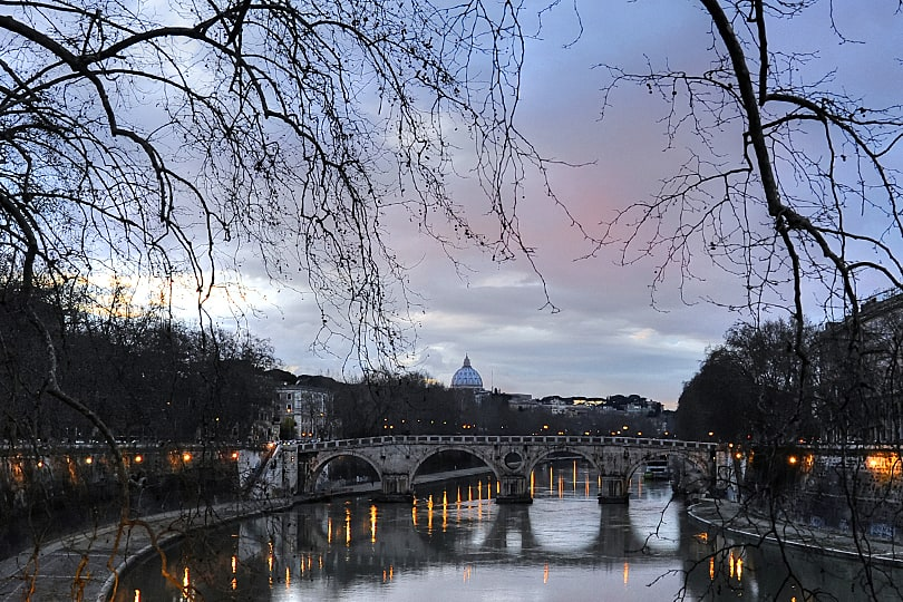 River Tiber, Rome at twilight