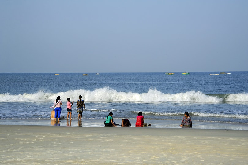 Enjoying the cooling waters on Colva Beach, Goa