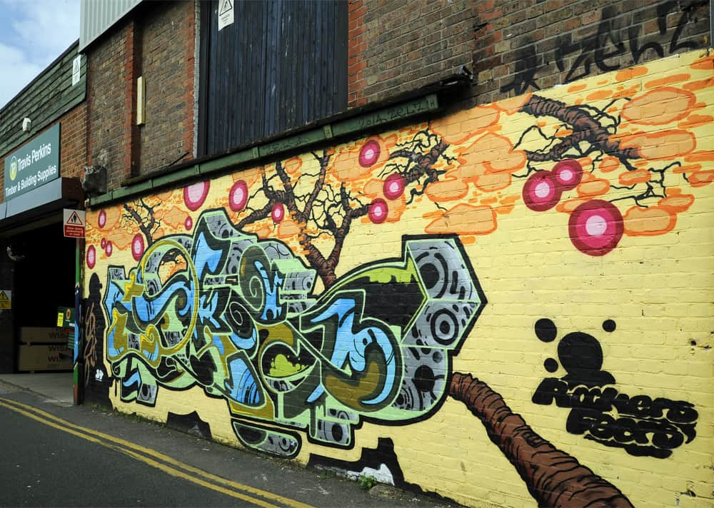 Street art along Trafalgar Lane, Brighton
