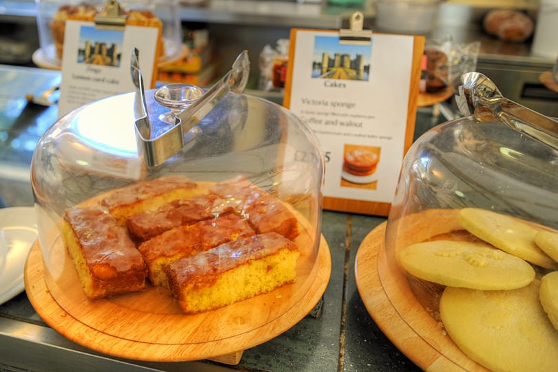 Homemdae cakes at the Bodiam Castle tearooms