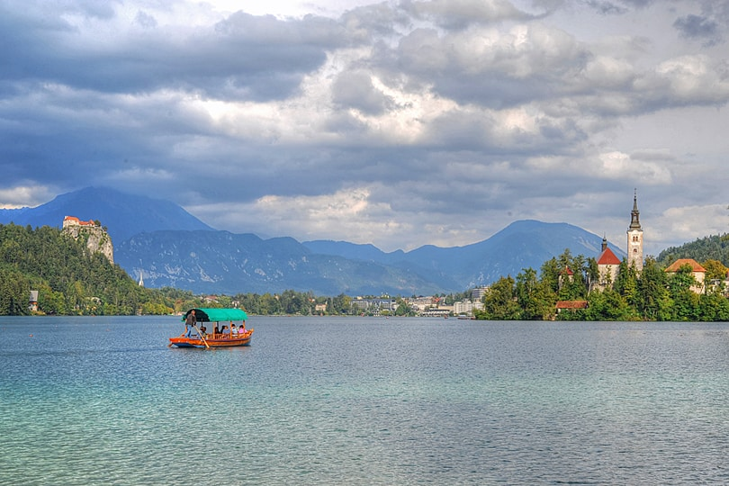 View from camp site by Lake Bled, Slovenia