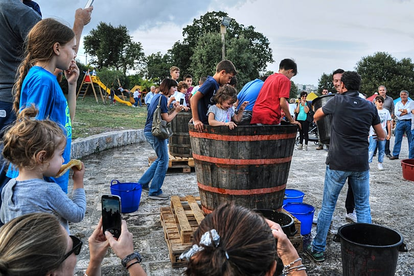 Grape harvest festival games, Locorotondo, Puglai, Italy