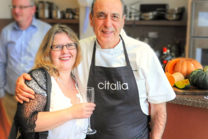 Kathryn Burrington (TravelWithKat.com) with Gennaro Contaldo