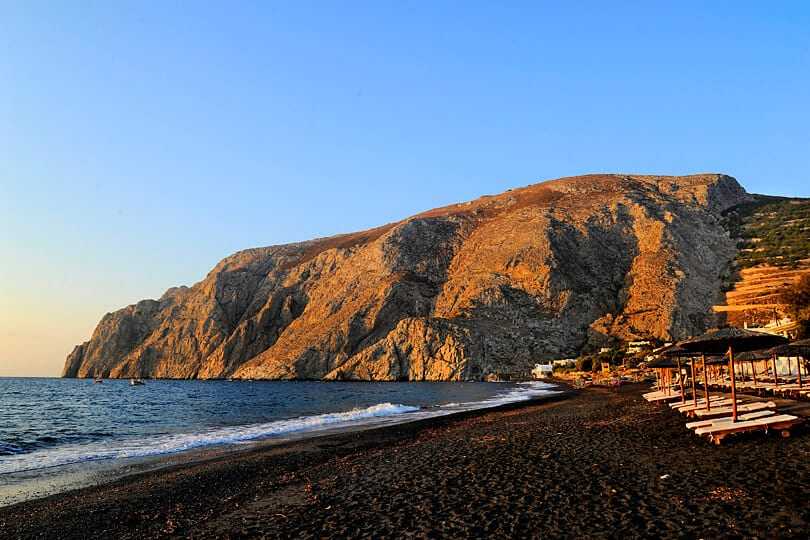 Early morning on Kamari Beach, Santorini, Greece