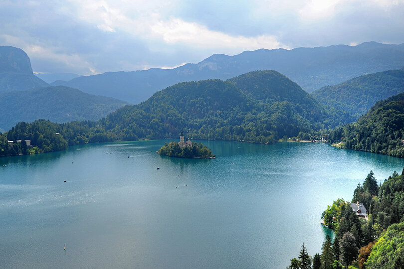 The view of Lake Bled from the castle
