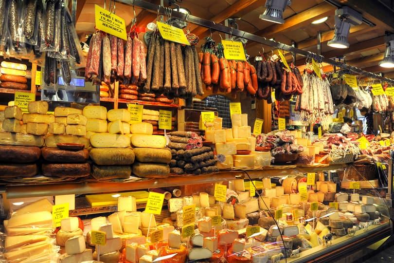 Cheese and cured meats at Palma Market, Mallorca