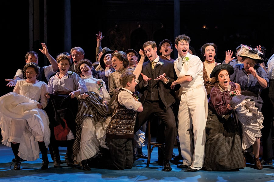 Charlie Stemp as Arthur Kipps and the cast of Half a Sixpence