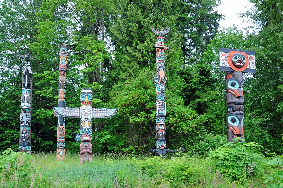 Totem poles in Stanley Park, Vancouver, British Columbia, Canada