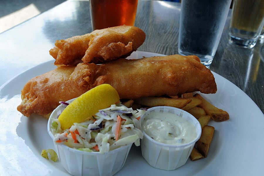 Fish 'n' chips at Molly's Reach in Gibsons, British Columbia, Canada