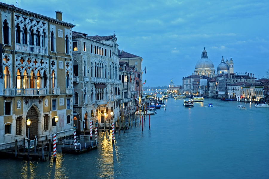 The Grand Canal at dusk, Venice, Italy