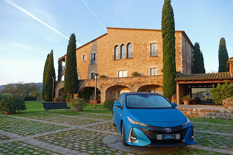 Prius Plug-in Hybrid, Mas de Torrent Hotel and Spa, near Girona, Spain