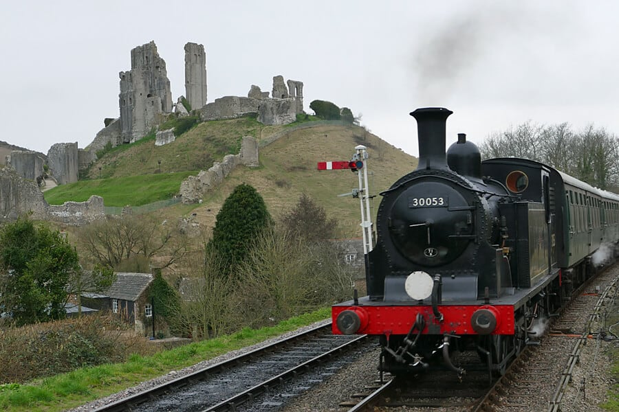 Swanage steam train and Corfe Castle, Dorset