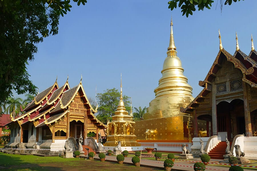 Phra That Luang Chedi, the largest golden chedi in the Wat Phra Singh temple complex in Chiang Mai.