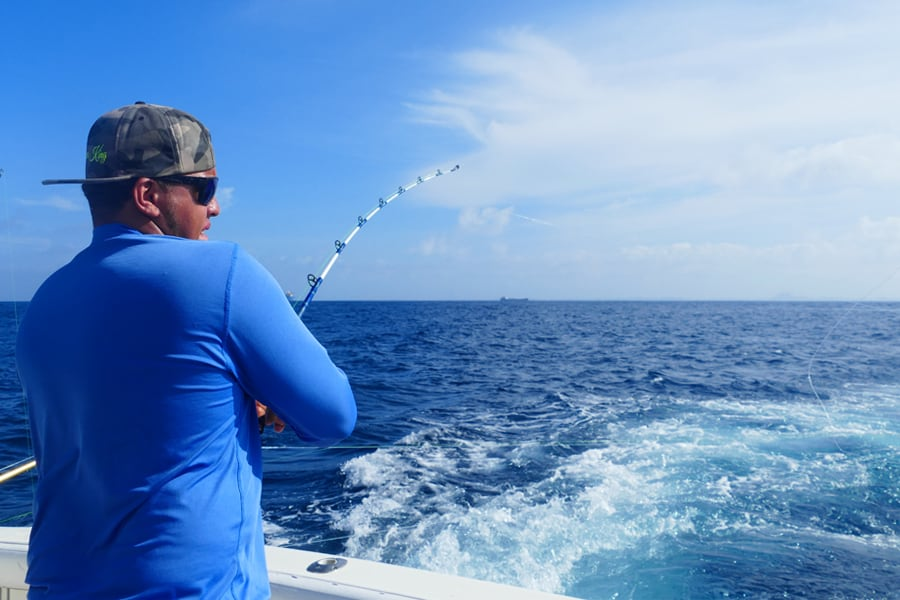 Deep sea fishing for tuna, mahi mahi and barracuda in Aruba