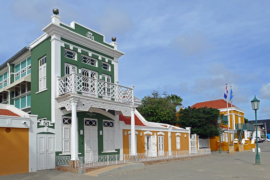 HIsotric, colourful buildings in Oranjestad, Aruba