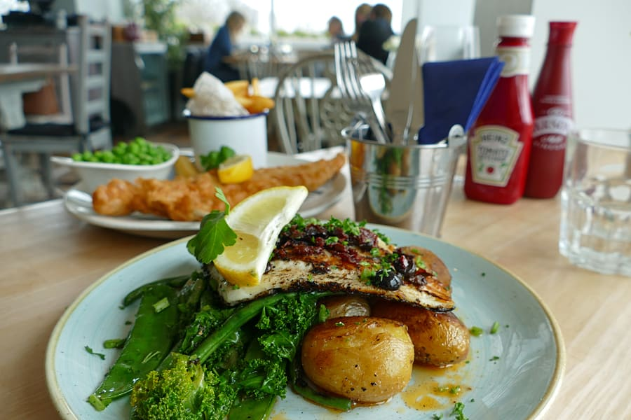 Suzanne's 'Fish of the Day' at The Beach Deck, Eastbourne, East Sussex, England
