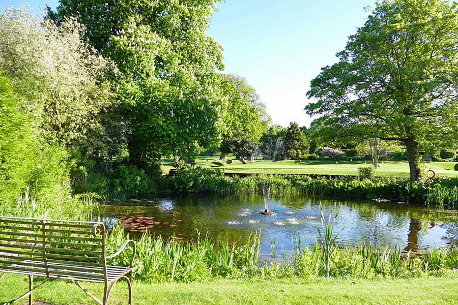 The beautiful 10 acres of grounds at the Park House Hotel and Spa, West Sussex, England