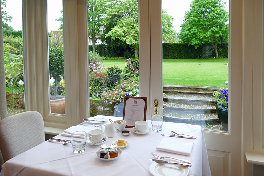 The dining room at the Park House Hotel and Spa, West Sussex, England