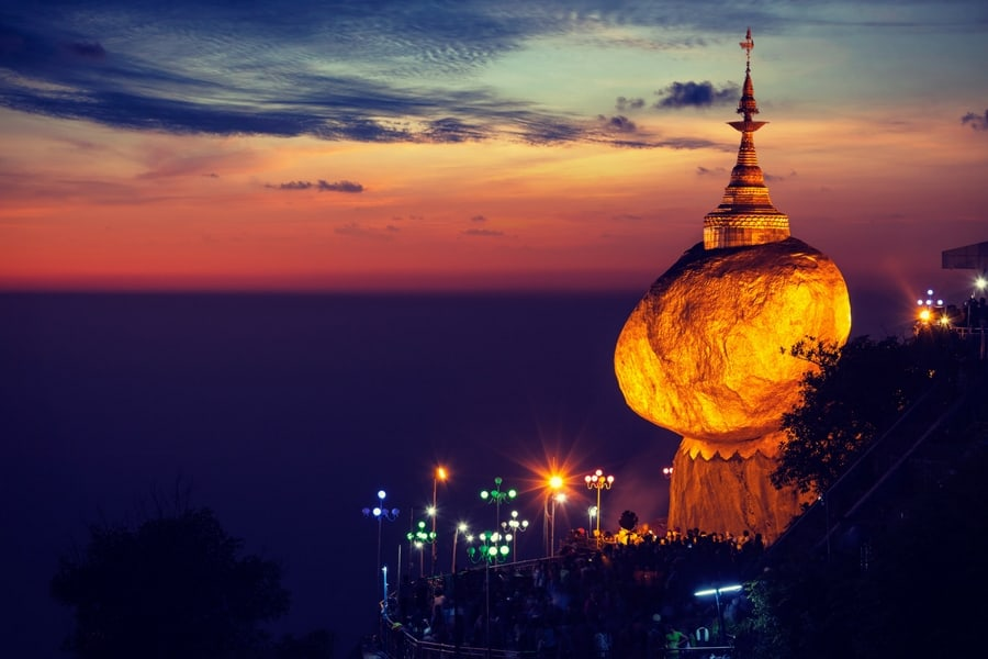 Golden Rock on Mount Kyaiktiyo, one of my Top 10 places to visit in Burma (Myanmar)