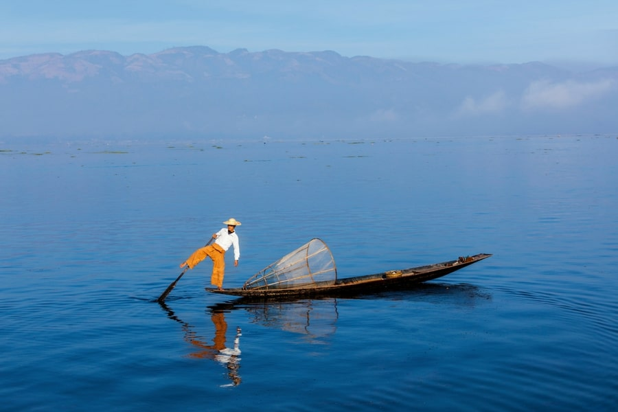 A traditional fisherman on  Inle Lake, Burma (Myanmar)