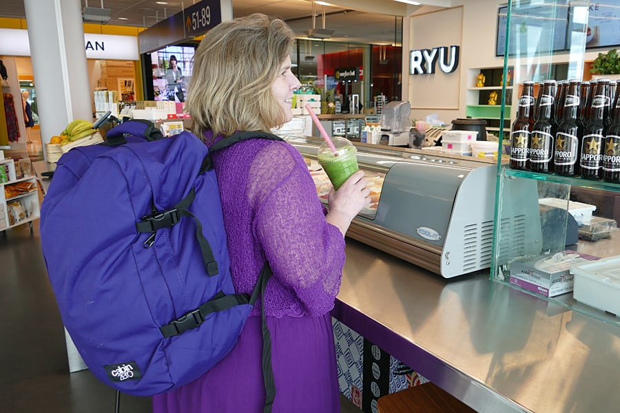 CabinZero 'original purple' carry-on backpack