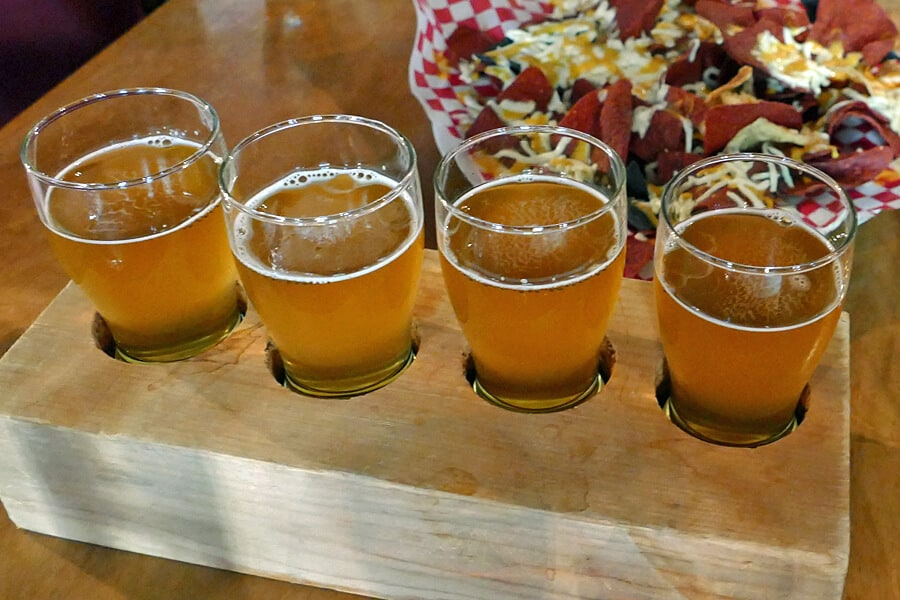 Beer flight from Red Tide Brewery, Saint JOhn, New Brunswick, Canada