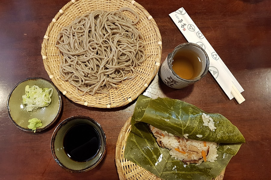 Special hida beef with soba noodles, a traditional dish of the area, at Soba no Hirajin restaurant.