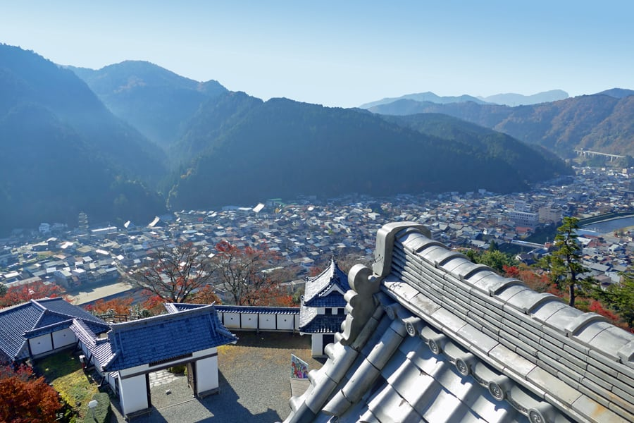 View from Hachiman Castle of GUjo-Hachiman in the valley below