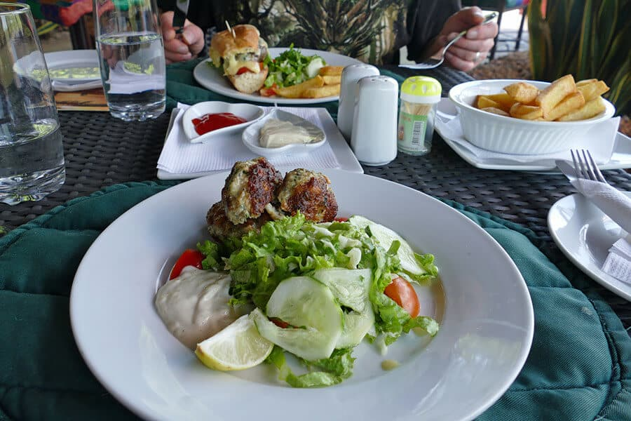 Fish cakes for lunch at Mandina Lodges, the Gambia