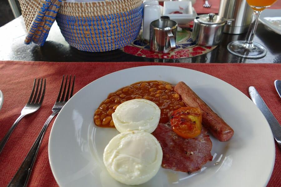 Full English breakfast at Mandina Lodges, The Gambia